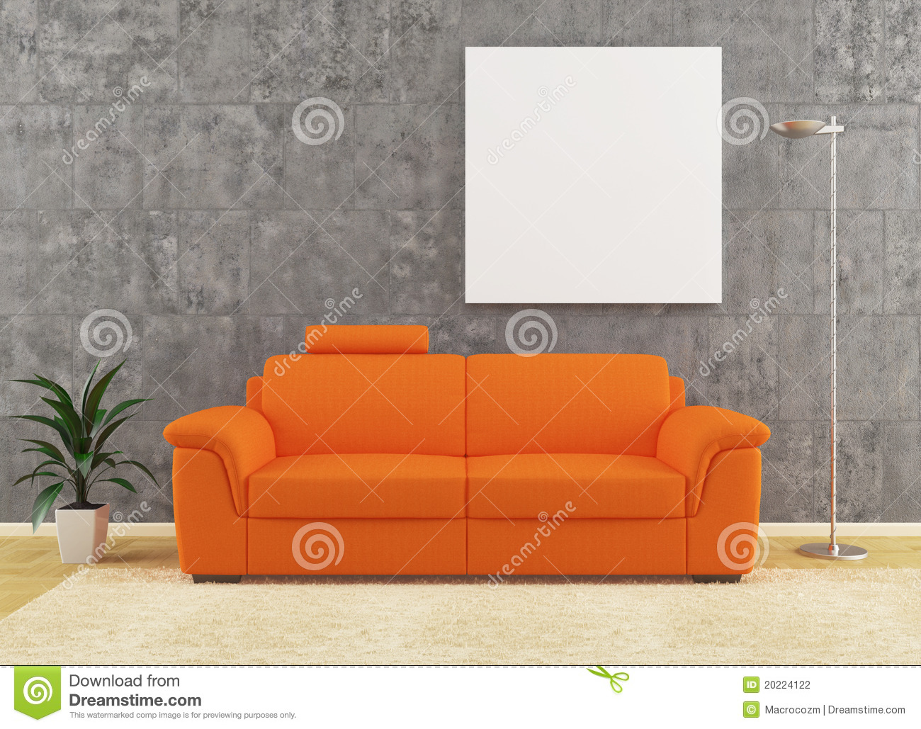 Modern Orange Sofa On Dirty Wall Interior Design Stock Photography  Image 20224122