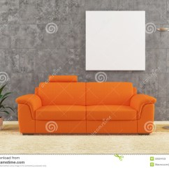 Living Room Decor Black Sofa Table With Storage Modern Orange On Dirty Wall Interior Design Stock ...
