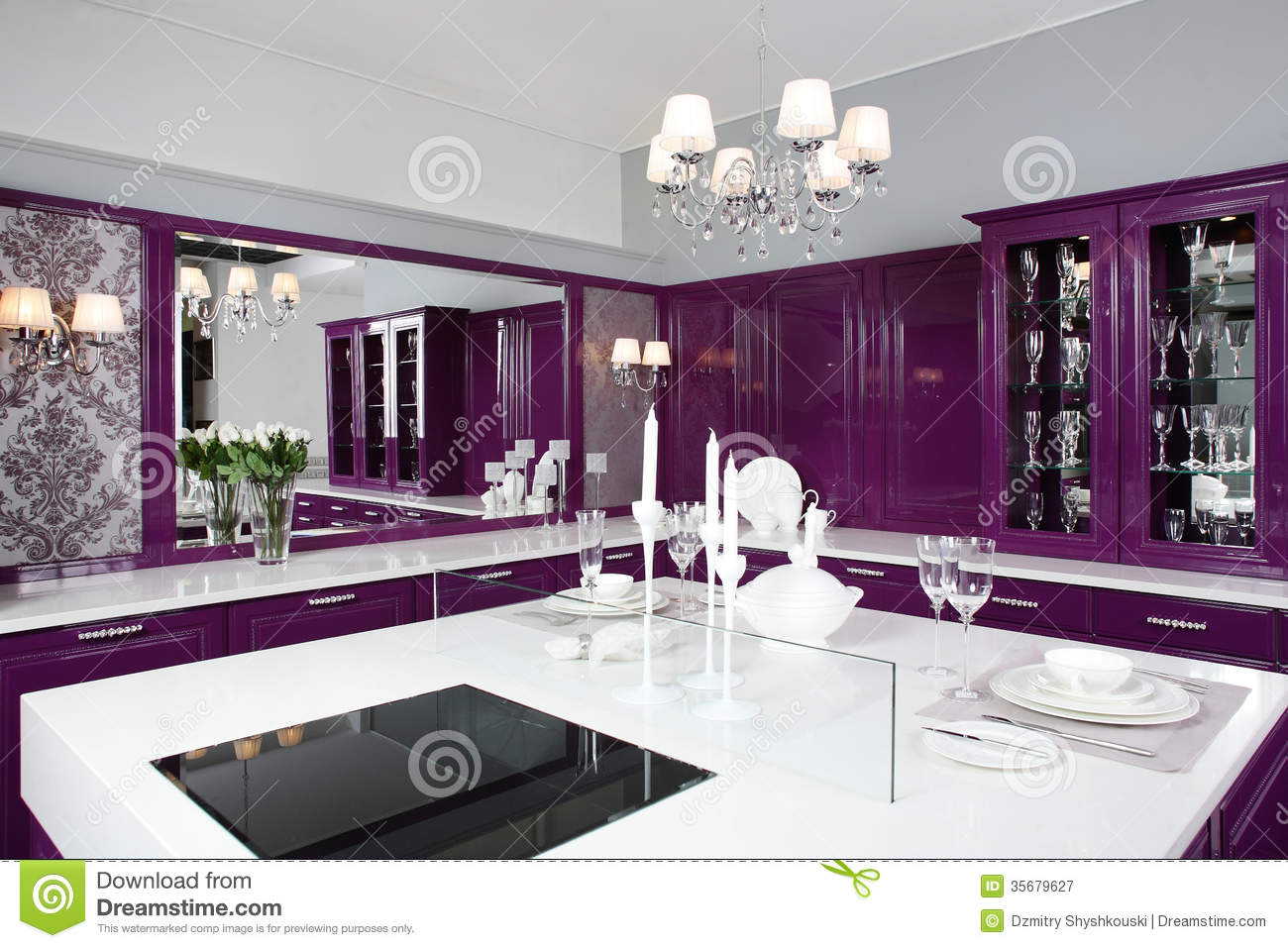 Modern Purple Kitchen With Stylish Furniture Royalty Free