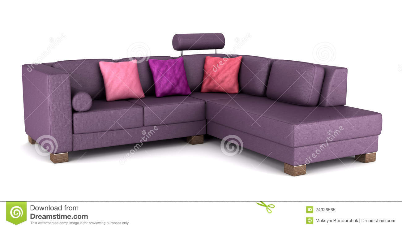 Modern Purple Leather Couch With Pillows Isolated Stock
