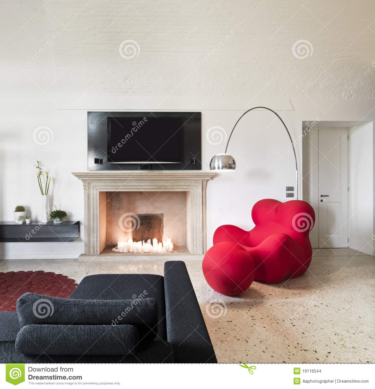 living room color with red sofa grey leather corner argos modern armchair in stock photo - image ...