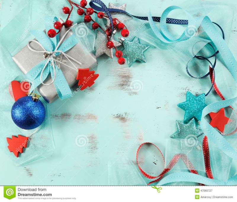 modern red and white christmas decorations on aqua blue wood - Teal And Red Christmas Decorations