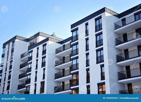 Facade Of Modern Apartment Building Stock
