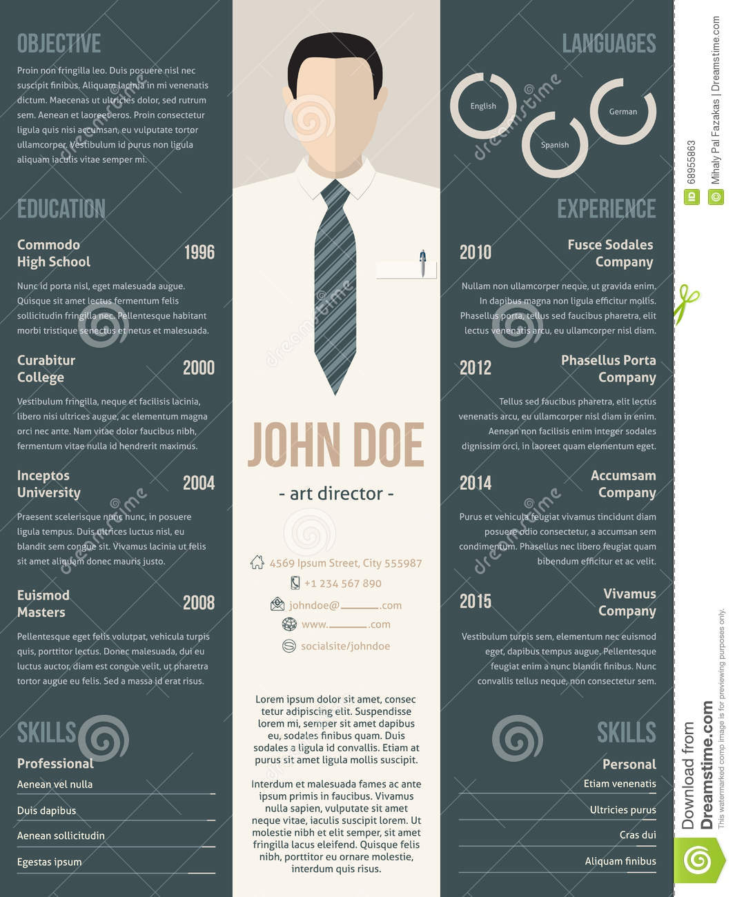 Modern Resume Cv Template With Business Suit Stock Vector  Image 68955863