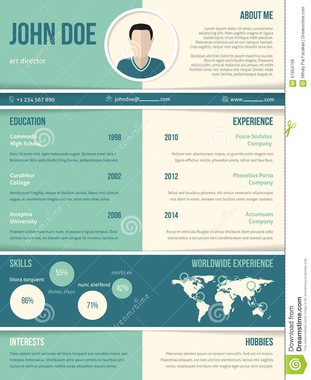 Modern Resume Cv Template With Color Elements Stock