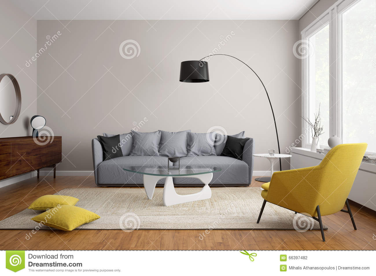 scandinavian living room furniture small decorating ideas for indian homes modern with grey sofa stock illustration