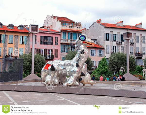 Modern Sculpture Loch Ness Monster In Nice France Editorial - Of House