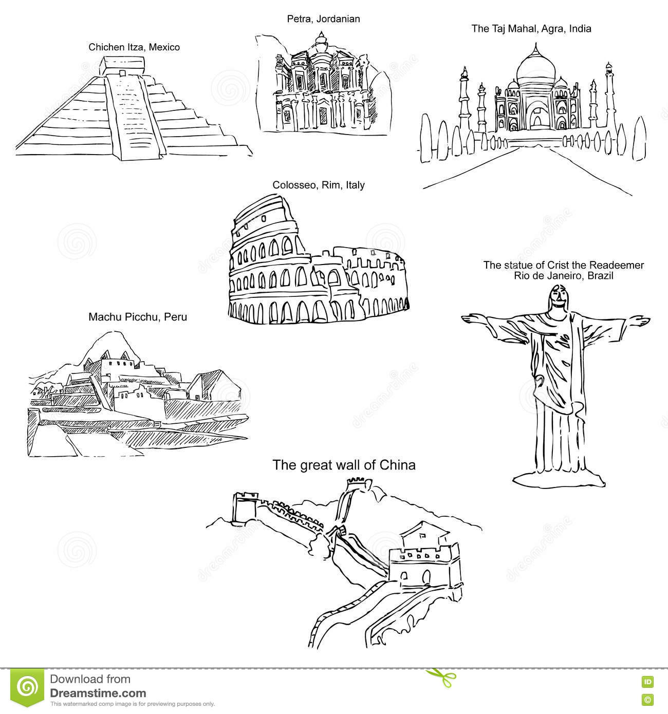 hight resolution of the modern seven wonders of the world sketch pencil drawing by hand vector