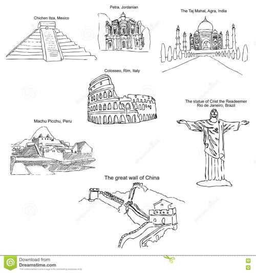 small resolution of the modern seven wonders of the world sketch pencil drawing by hand vector