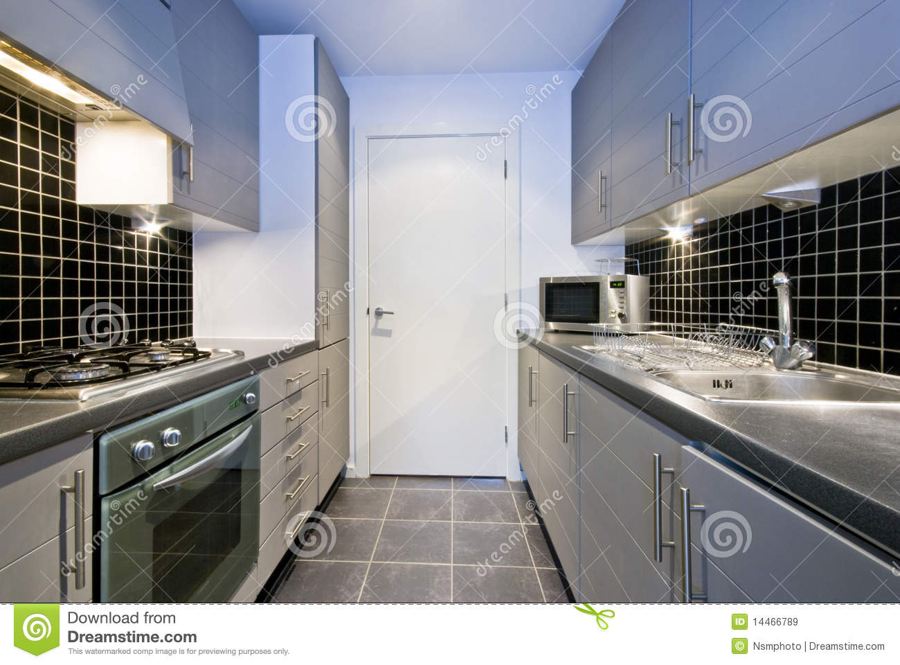 Modern Silver Kitchen With Black Tiles Stock Image  Image