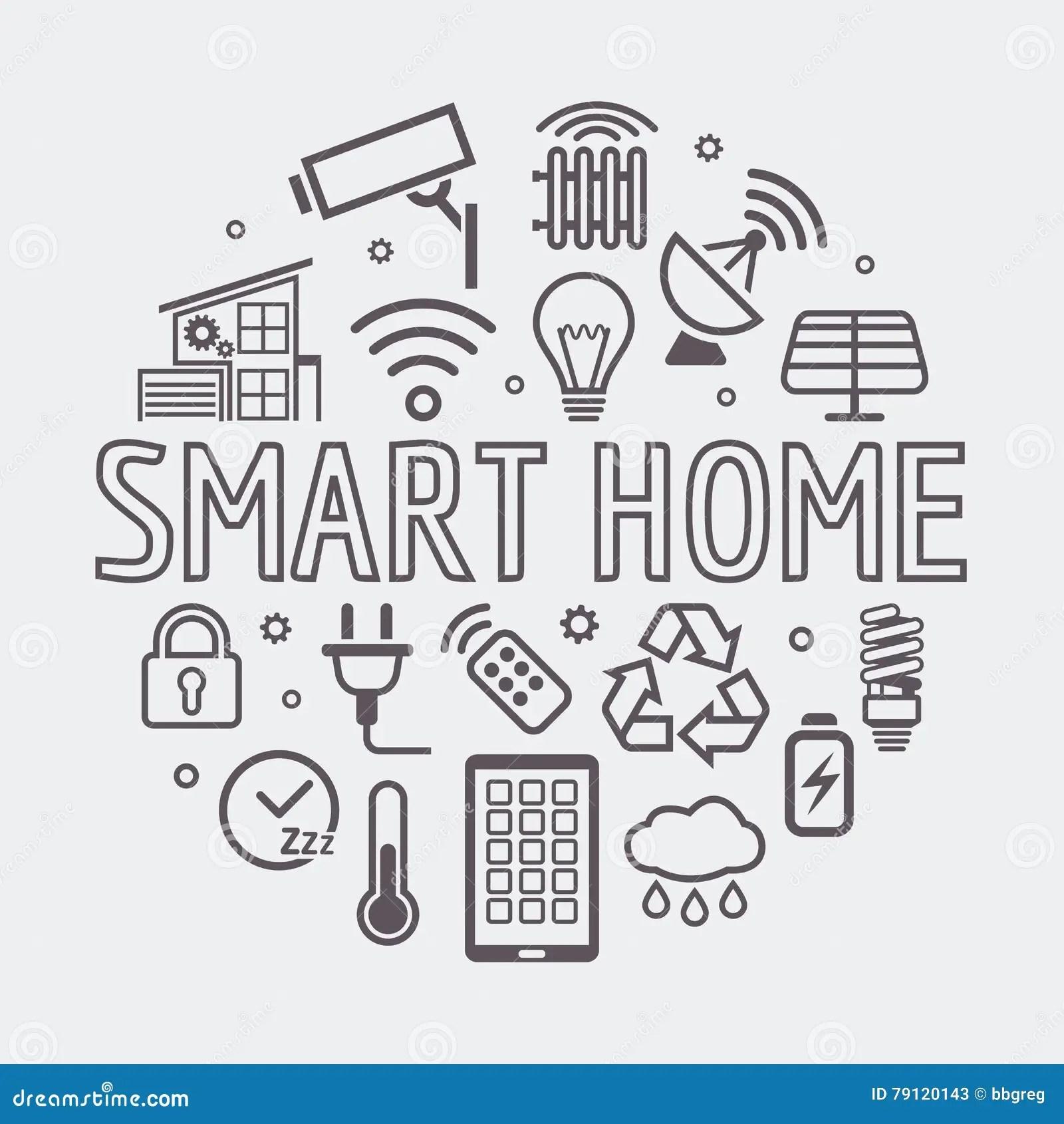 Modern Smart Home Round Illustration, Vector Symbol Made