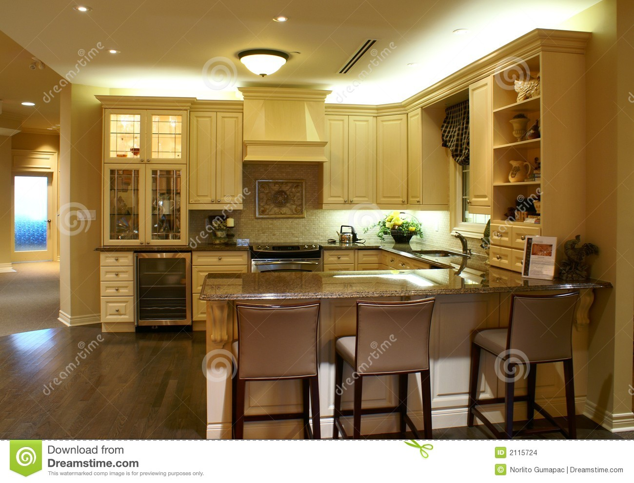 Kitchen With Cherry Cabinets Modern Spacious Kitchen Stock Photo. Image Of Classic