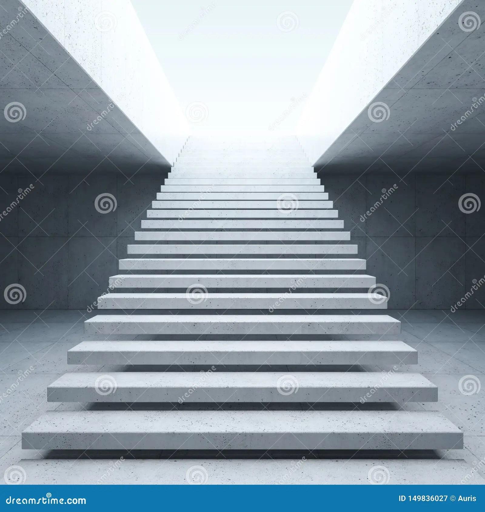 Modern Staircase In Concrete Interior Stock Illustration   Interior Concrete Stairs Design   Architecture   House   White Matte Concrete   Urban   Dark Wood Modern