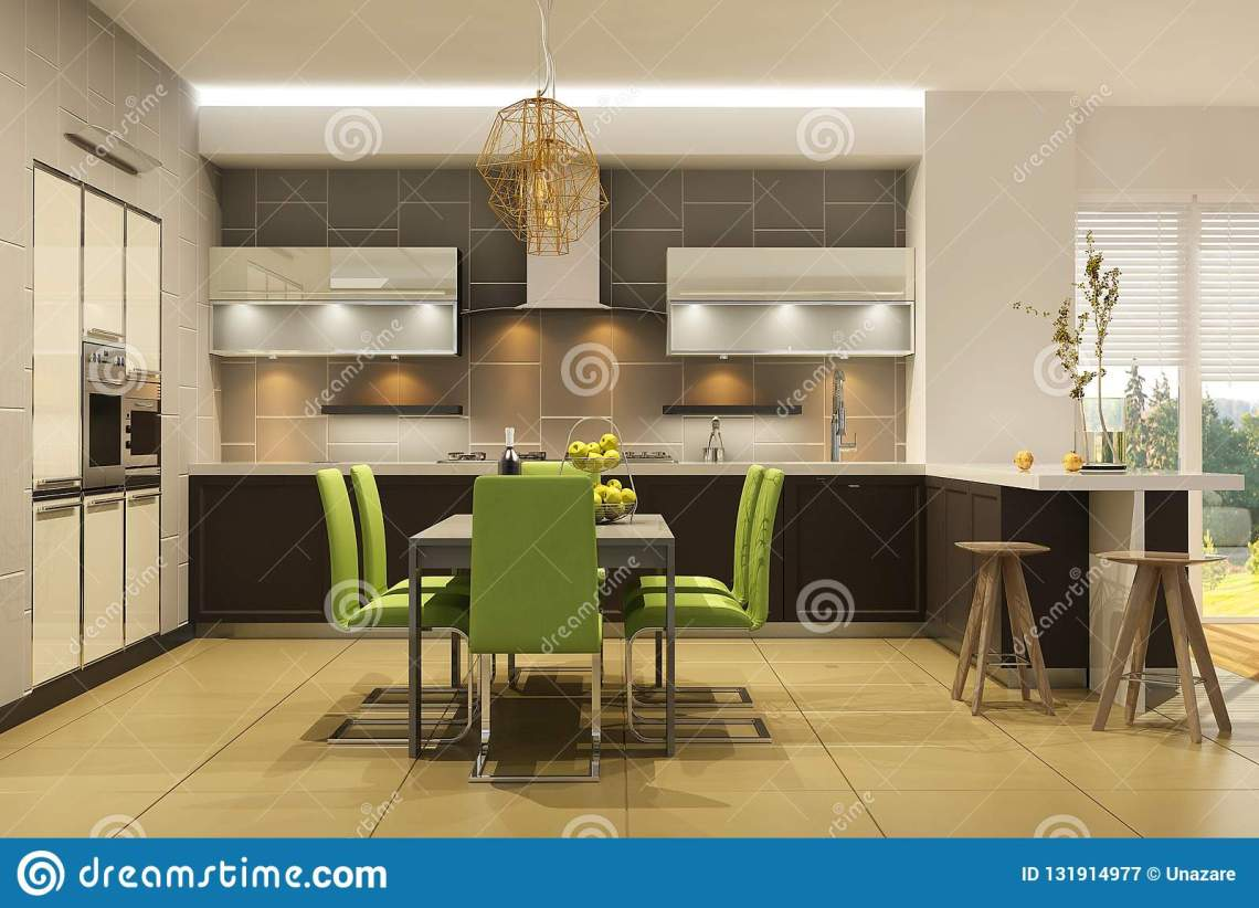 Modern Style Interior Of Living Room With The Kitchen In Light Colors With Green Accents Stock Illustration Illustration Of Beautiful Design 131914977