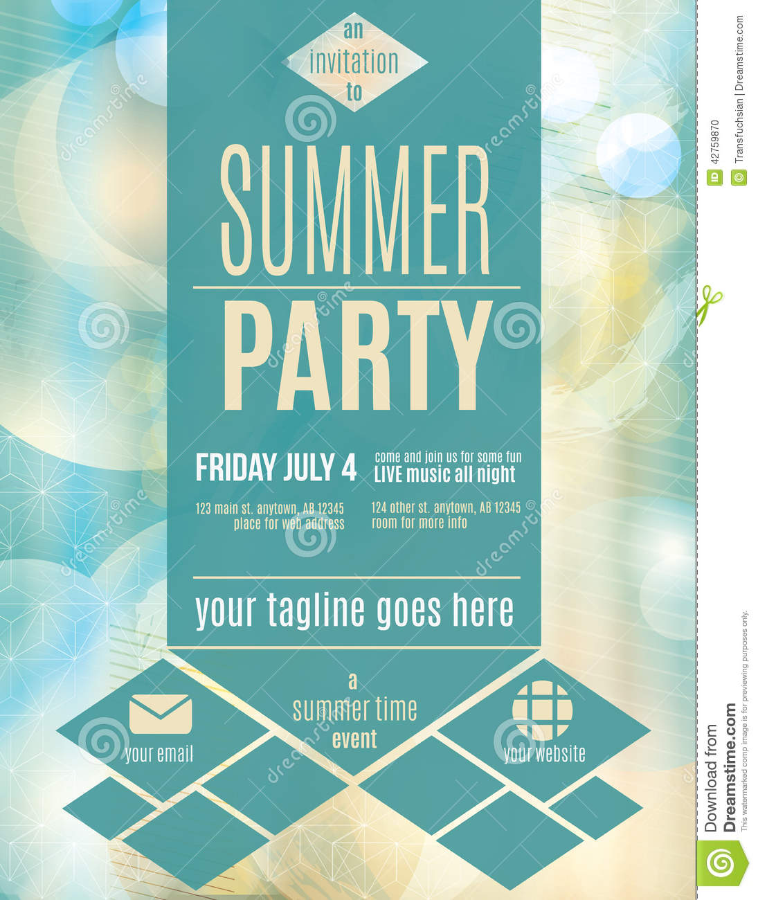 Modern Style Summer Party Flyer Template Stock Vector