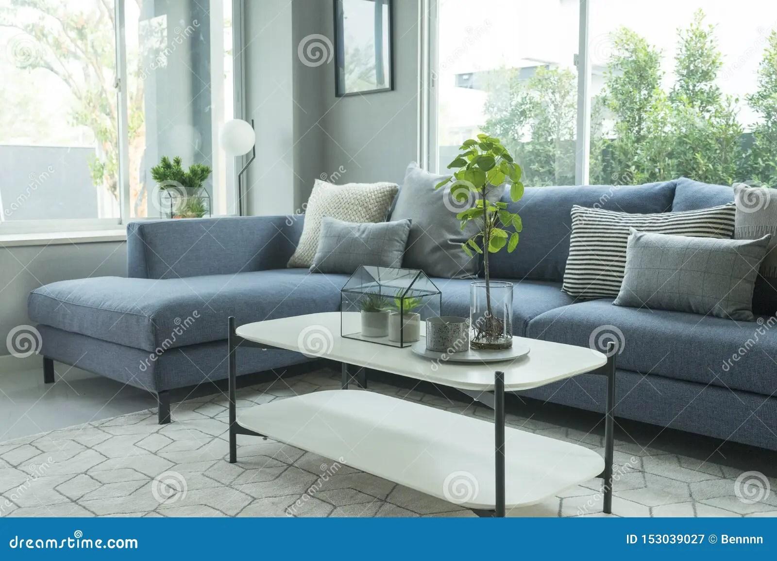 https www dreamstime com modern stylish living room blue sofa grey pillow coffee table floor lamp image153039027