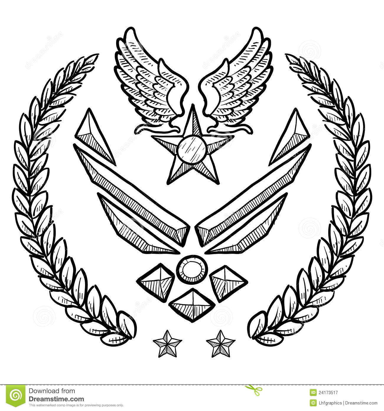 Modern Us Air Force Insignia With Wreath Stock Vector