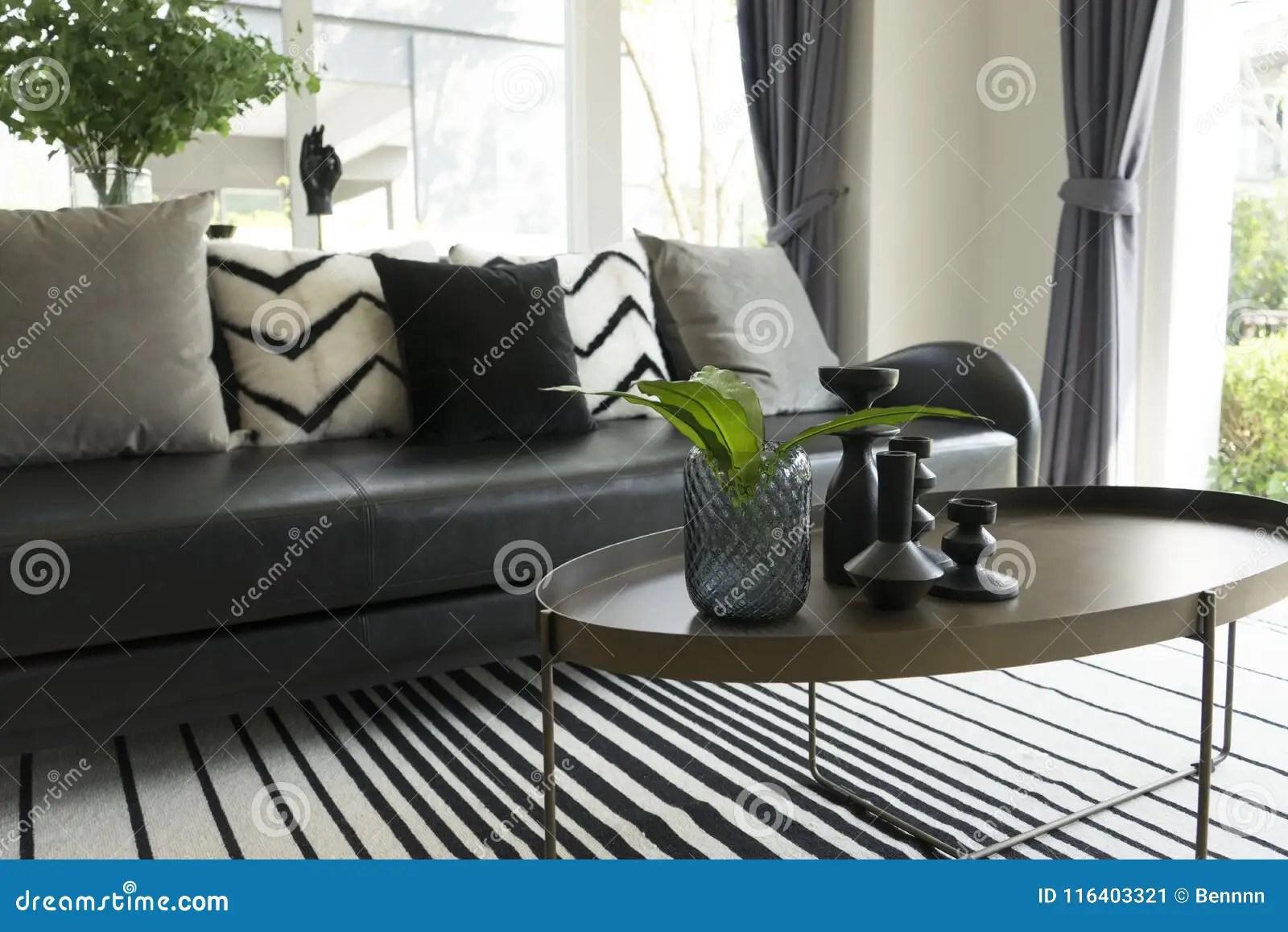 https www dreamstime com modern vase green leaf center table black white pillows sofa background image116403321