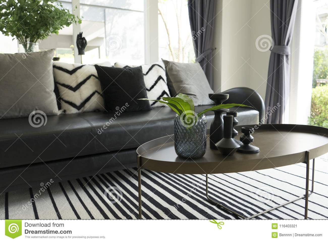 Modern Vase And Green Leaf On Center Table With Black And White Pillows On Sofa Stock Image Image Of Design Interior 116403321