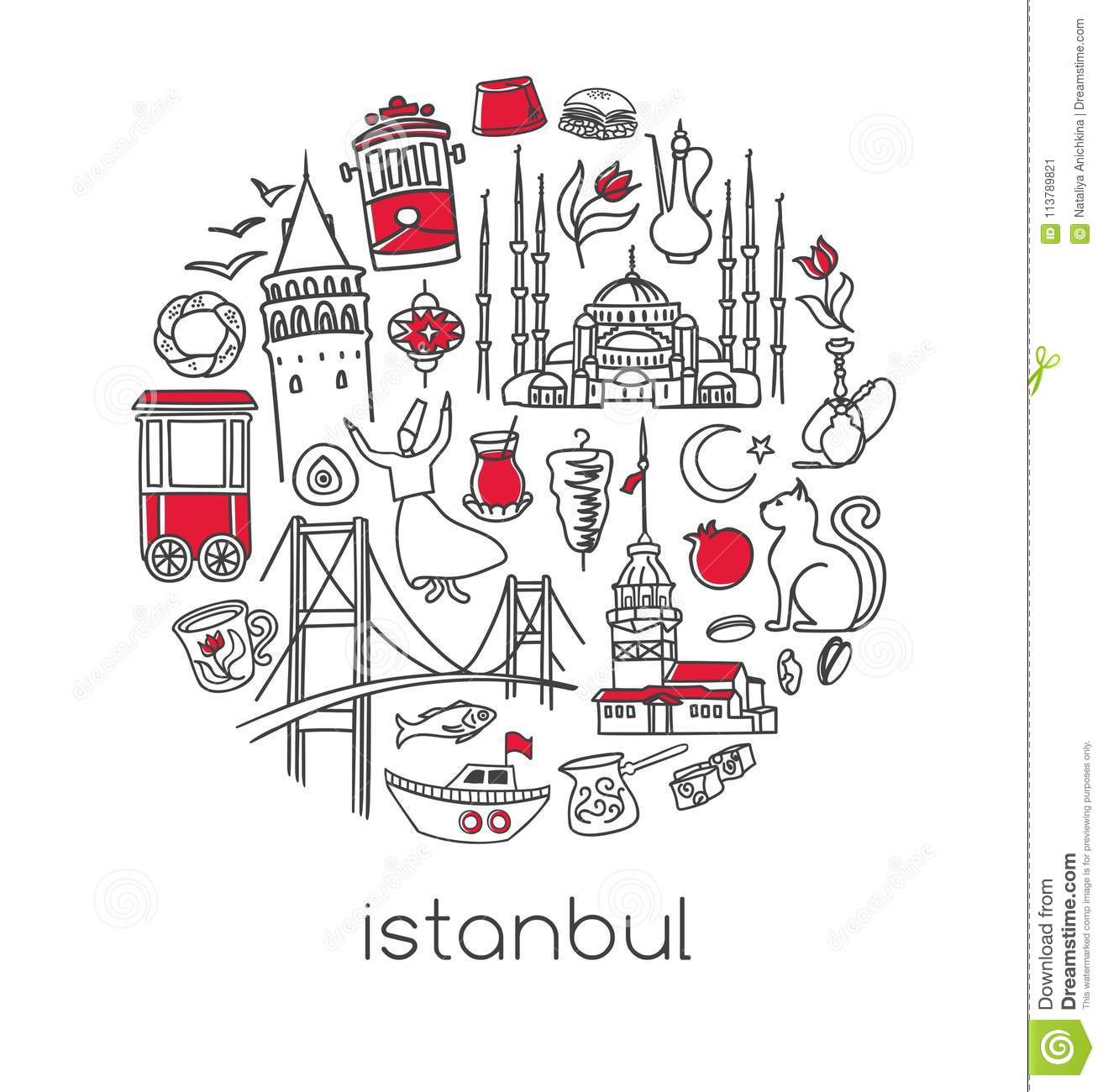 Vector Circle Composition With Famous Turkish Symbols Of