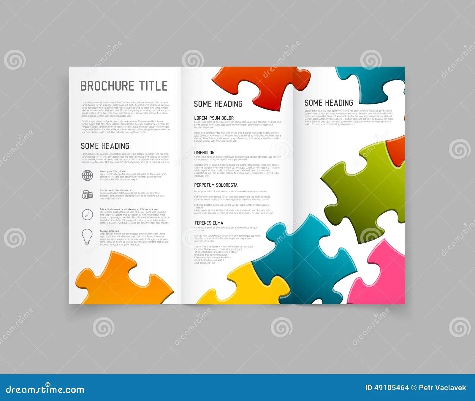 Modern Vector Three Fold Brochure Design Template Stock