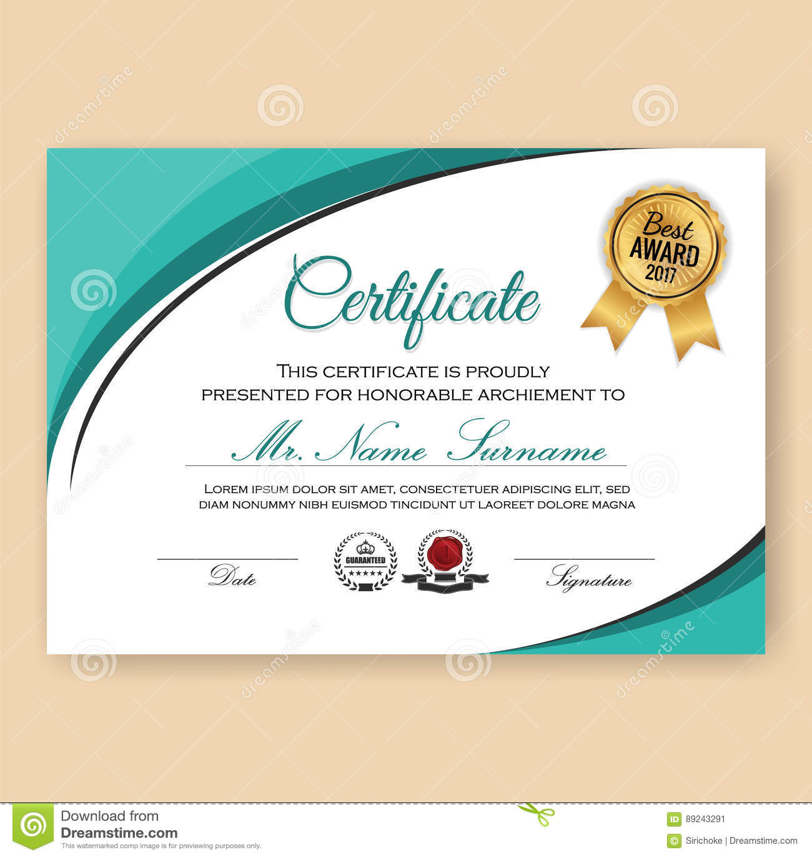 Modern Verified Certificate Background Template Stock