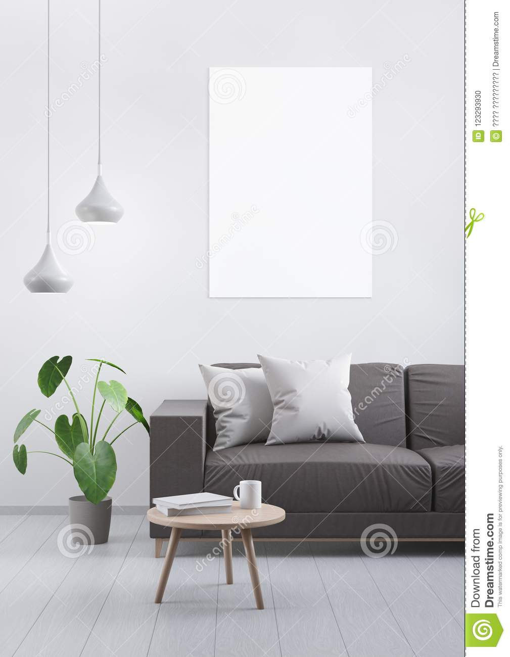 modern brown leather sofa diy pallet sectional instructions vintage living room on a grey wooden floor and light wall