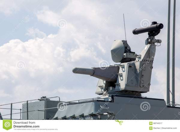 Modern Weapons On The Deck Of A Military Ship Weapon