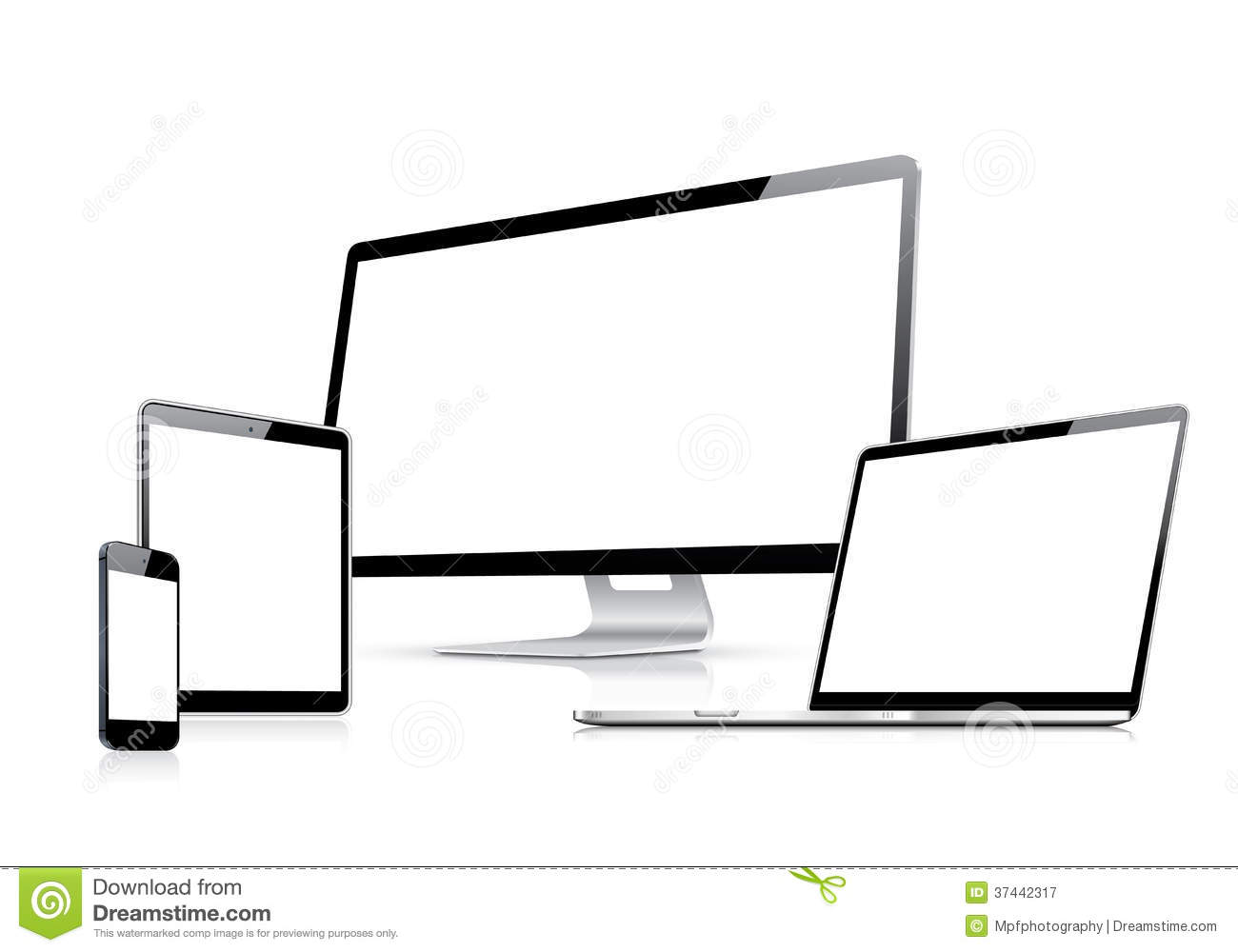 Modern Web Design Vector Template With Laptop, Tab Stock