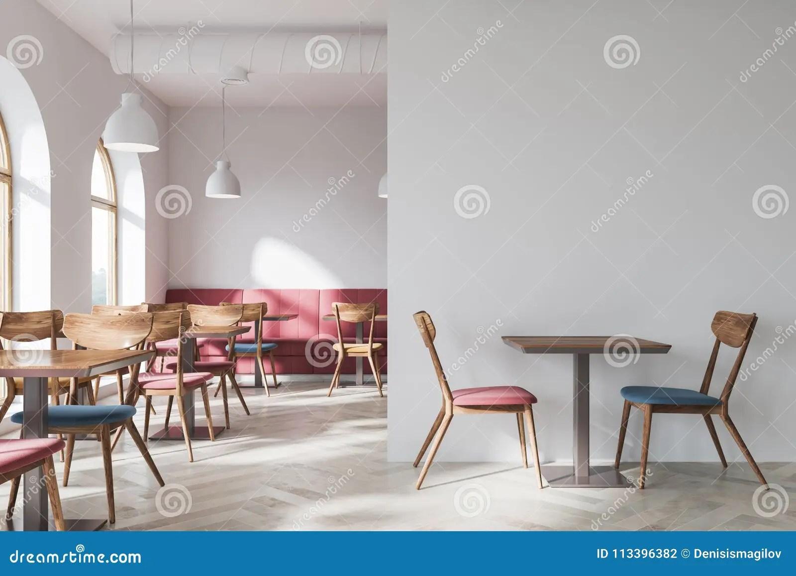 red sofa cafe baku best price on sofas white interior side view stock illustration