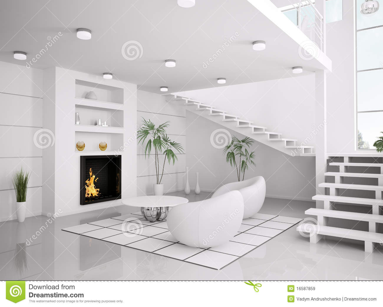 Modern White Interior Of Living Room 3d Render Stock