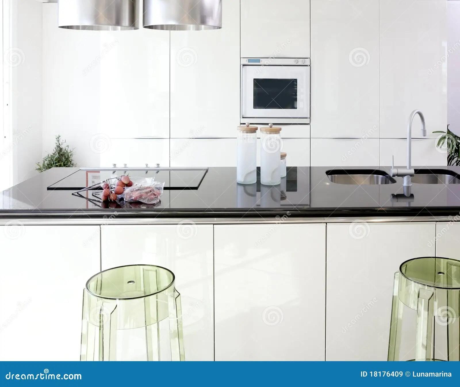 Modern White Kitchen Clean Interior Design Royalty Free