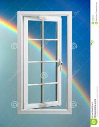 Modern White Window Frame In Blue Sky With Rainbow Stock ...