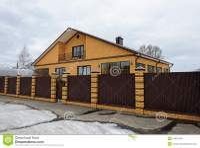 Modern Yellow Brick House With Balcony Stock Photo - Image ...