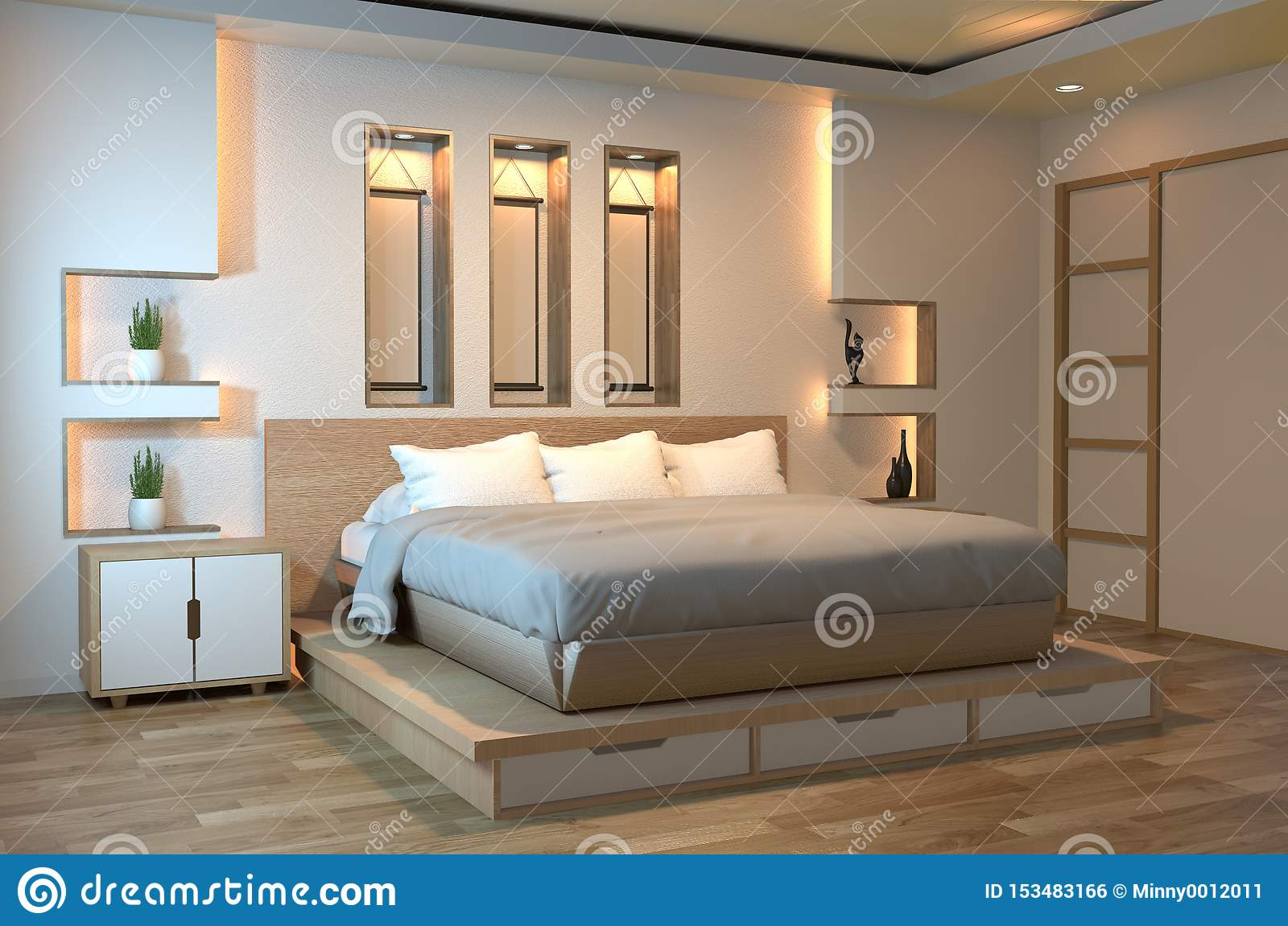 Modern Zen Peaceful Bedroom Japan Style Bedroom With Shelf Wall Design Hidden Light And Decoration Japanese Style 3d Rendering Stock Illustration Illustration Of Decoration Bedroom 153483166