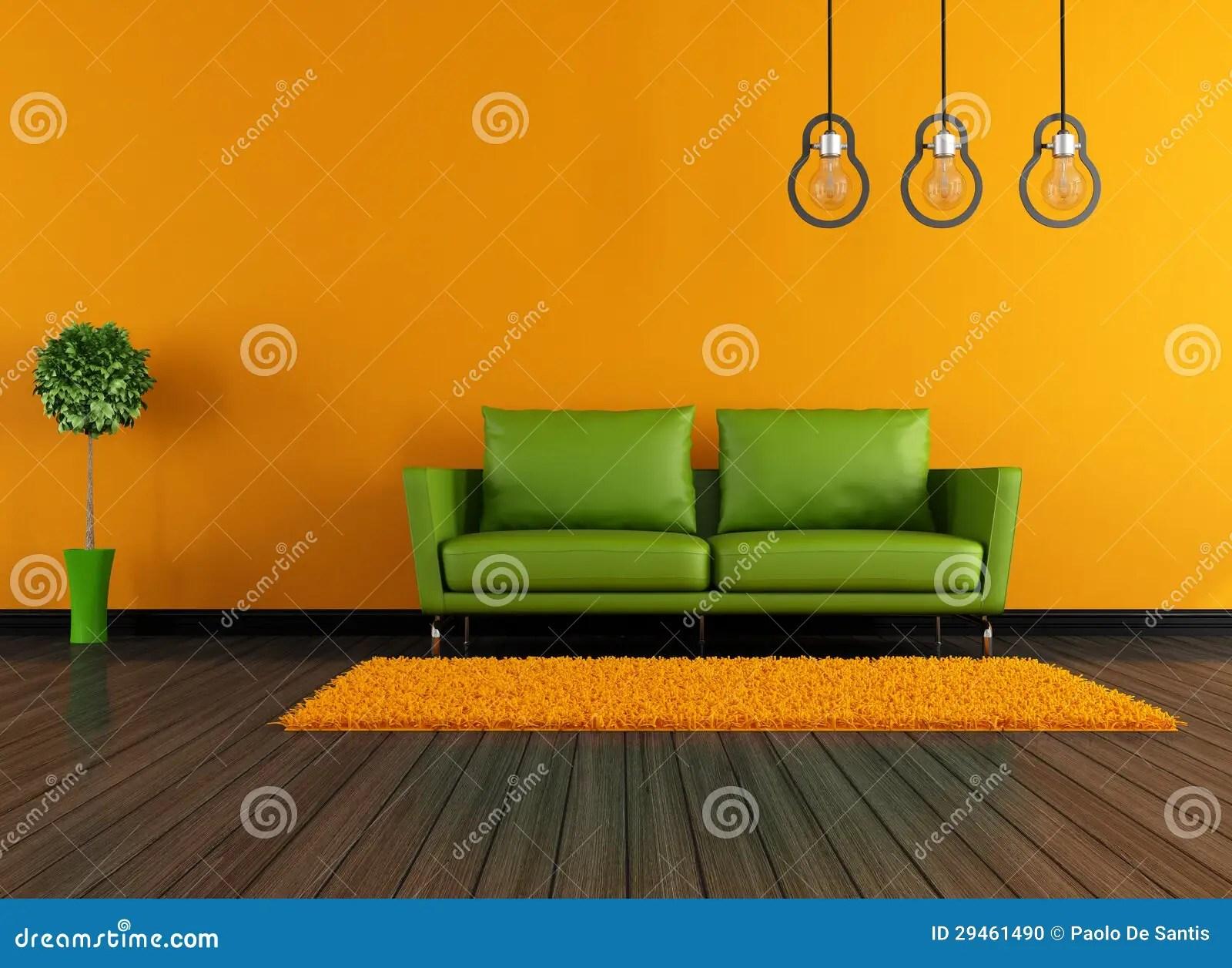 Moderne Groene En Oranje Woonkamer Stock Illustratie