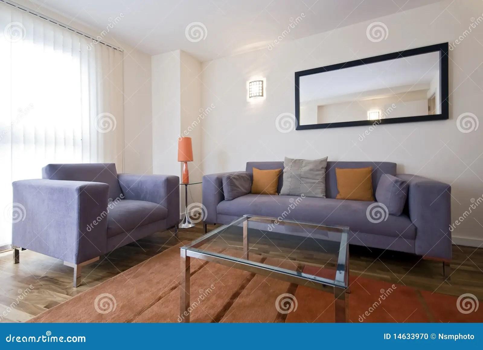 Moderne Woonkamer Met Grijze Bank Stock Foto  Beeld 14633970