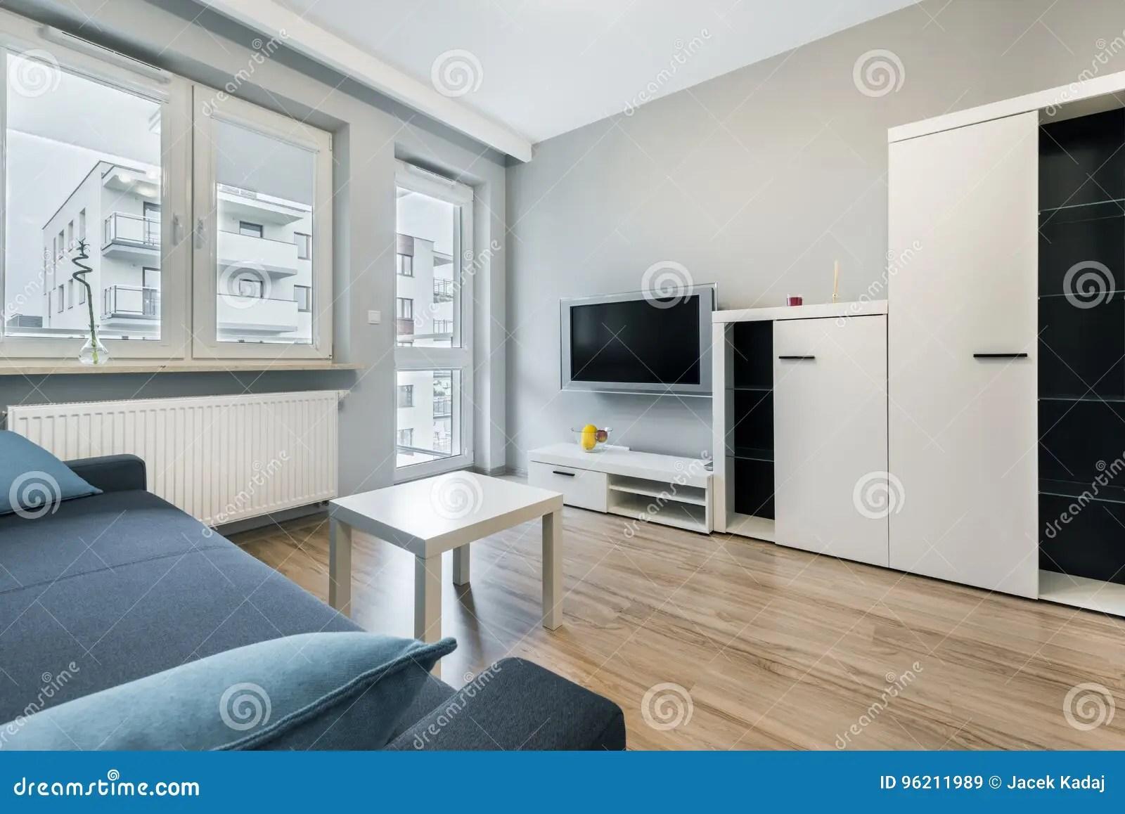 Moderne Woonkamer Met Grijze Muren Stock Afbeelding