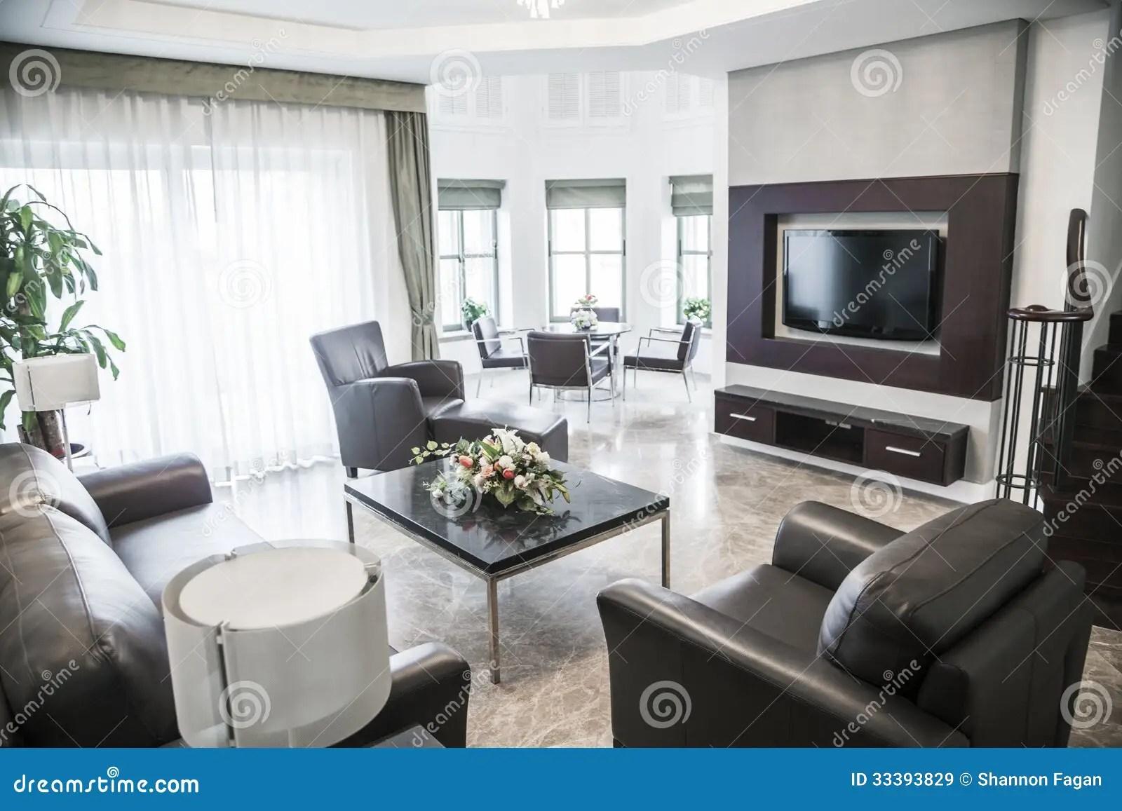 Moderne Woonkamer Met Televisie Stock Afbeelding