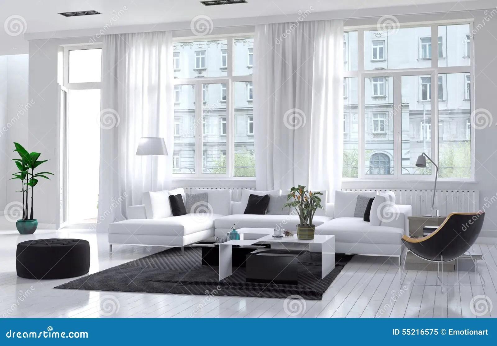Moderne Woonkamer Met Wit En Zwart Decor Stock Illustratie