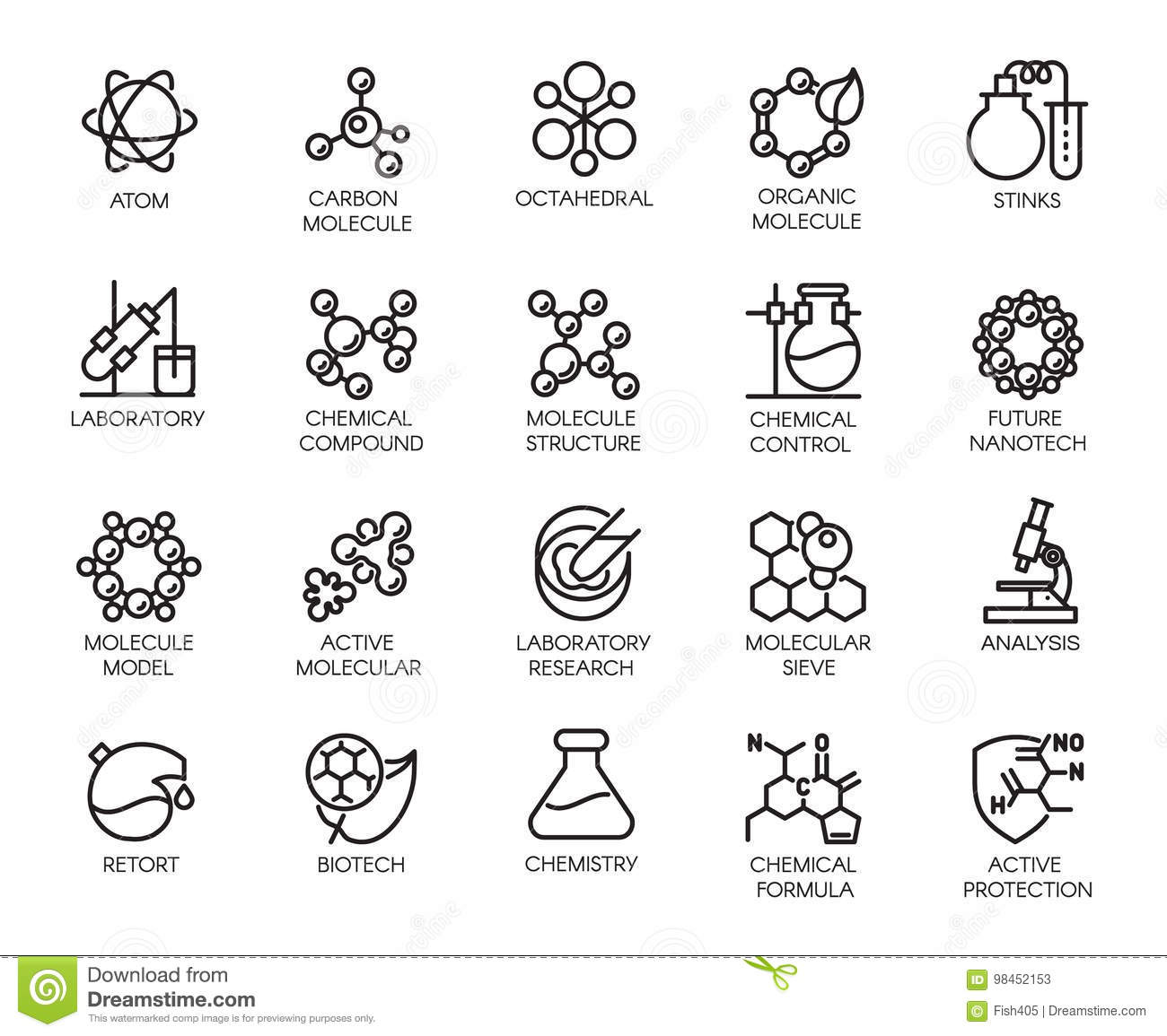 Molecular Chemistry, Physics And Medicine Concept Icons