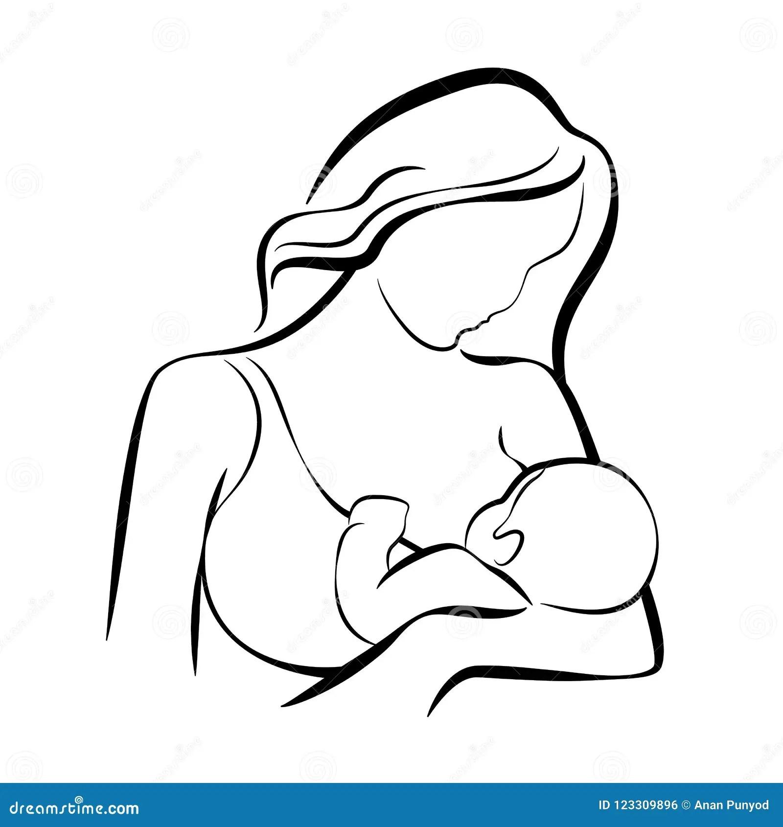 Mom Breastfeeding Baby Abstract Line Vector Design Stock