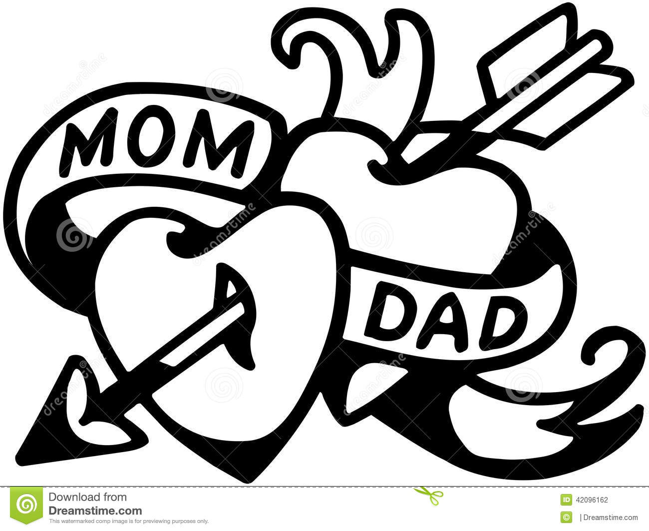 Mom And Dad Tattoo Stock Vector Illustration Of Mothers