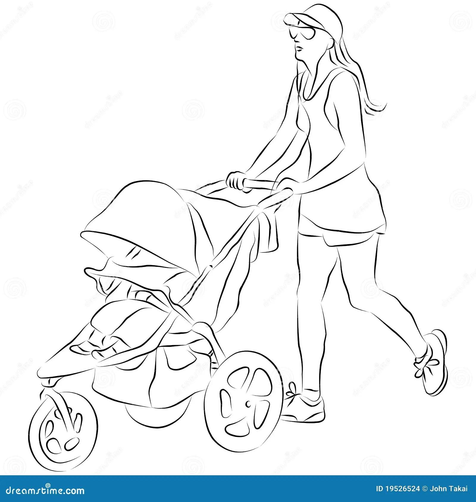 Mom Pusing Baby Stroller Stock Vector Illustration Of Graphic
