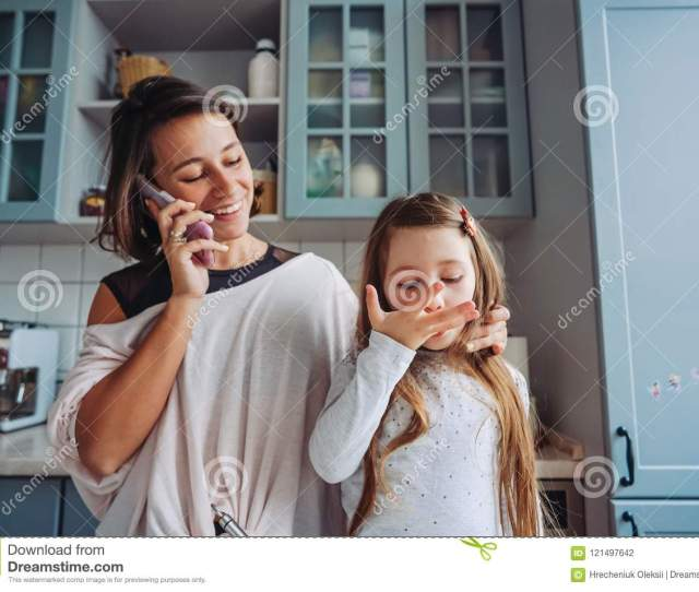Download Mom Teaches Her Little Daughter To Cook Food Stock Photo Image Of Supportive