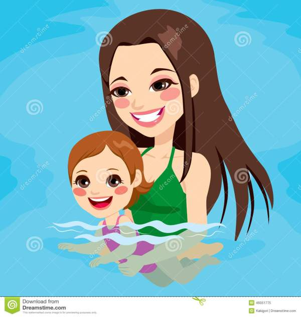 Mom Teaching Baby Girl Swimming Stock Vector