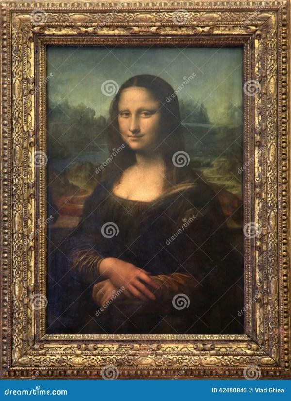 Mona Lisa Canvas Louvre Museum In Paris Editorial