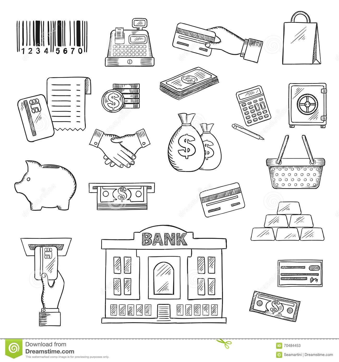 Money, Banking Services, Shopping Sketch Symbols Stock
