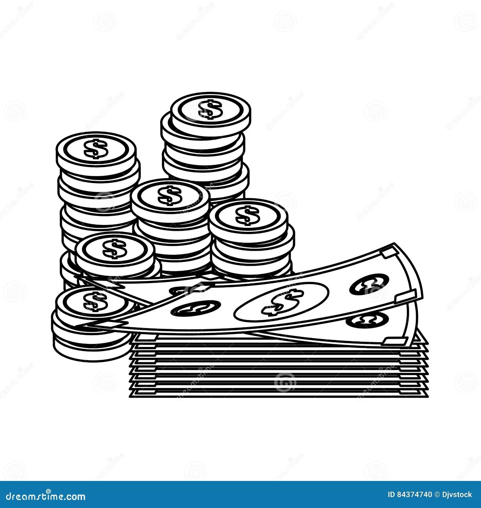 Money Bills And Coins Stock Illustration Illustration Of