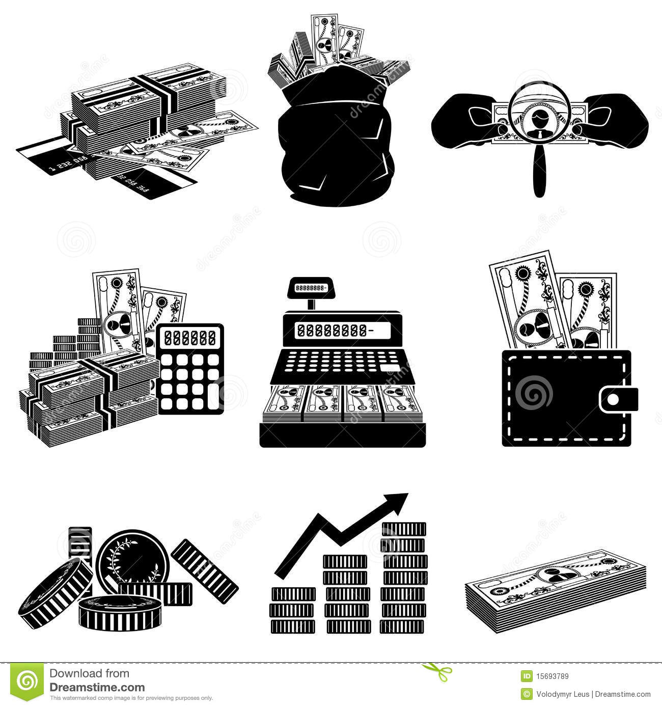 Money Black And White Icon Set Stock Vector